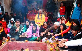 Havan during Foundation ceremony of Yugal Kunj